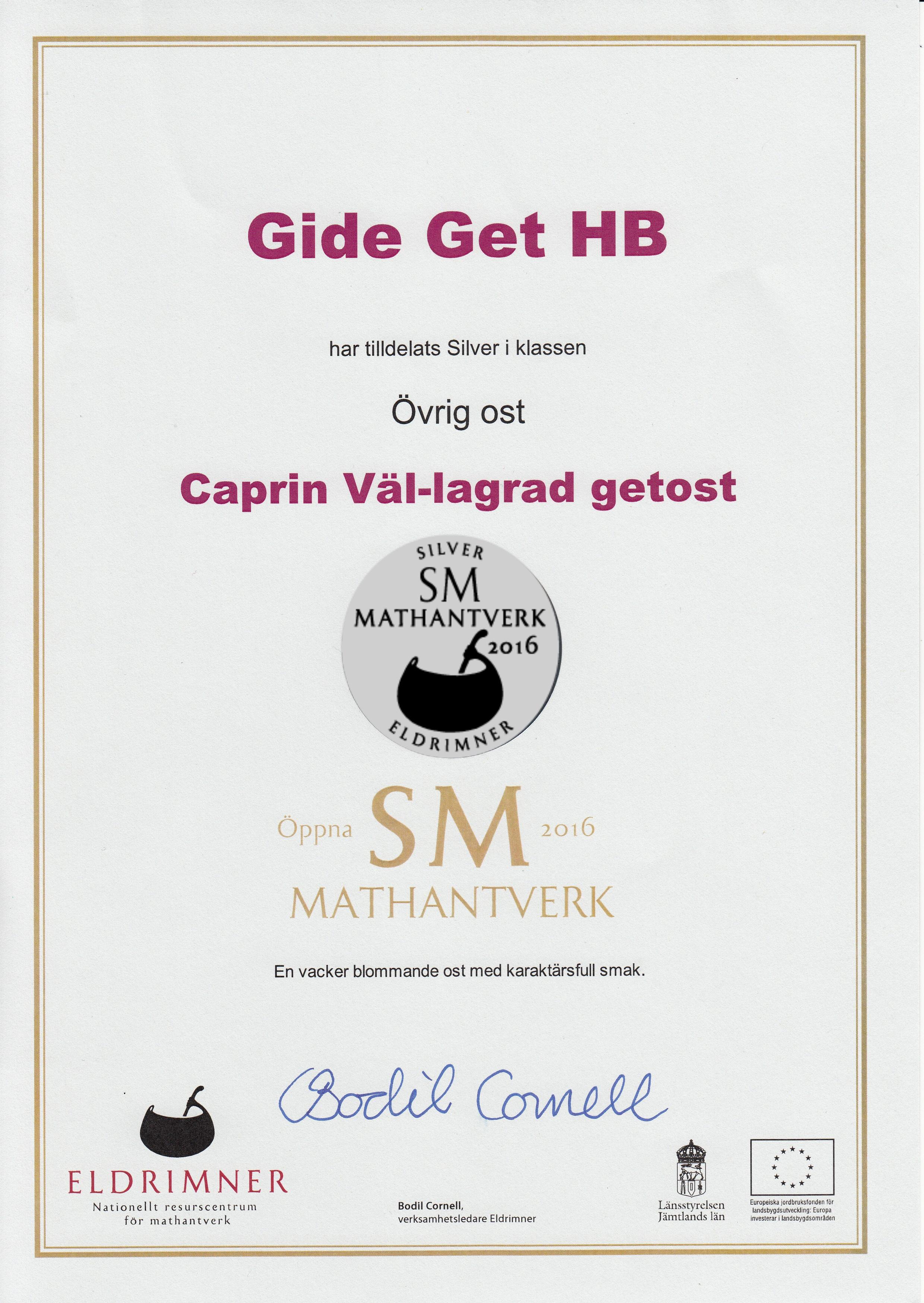 Silver Diplom för Vällagrad Caprin 2016 i SM i Mathantverk